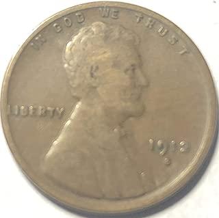 1912 S Lincoln Wheat Penny Cent Fine Condition Fine Details