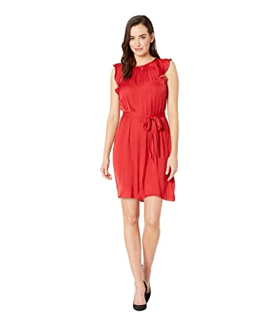 Vince Camuto Flutter Short Sleeve Belted Rumple Keyhole Dress (Coral Sunset) Women