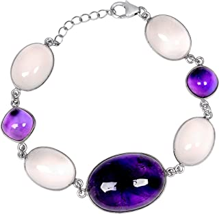 Purple Amethyst 79.40 Ct Oval 925 Sterling Silver Link Bracelet Mother's Day Presents By Orchid Jewelry
