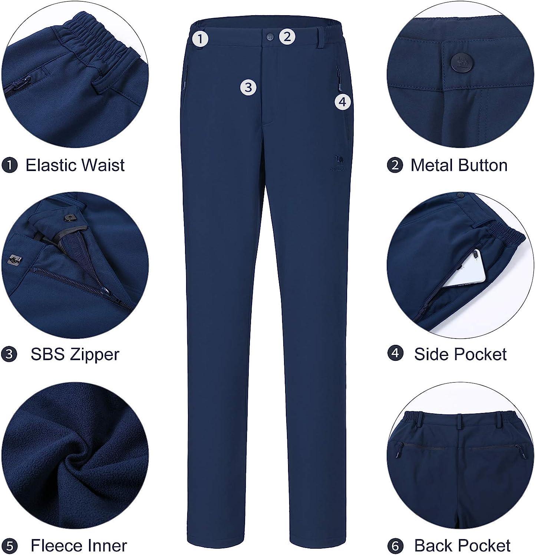CAMELSPORTS Men/'s Fleece Lined Hiking Pants Waterproof Warm Softshell Pants Windproof Snow Ski Cargo Pants for Outdoor