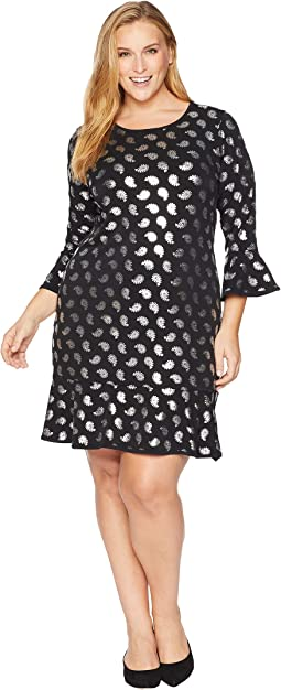 Plus Size Paisley Foil Flounce Dress