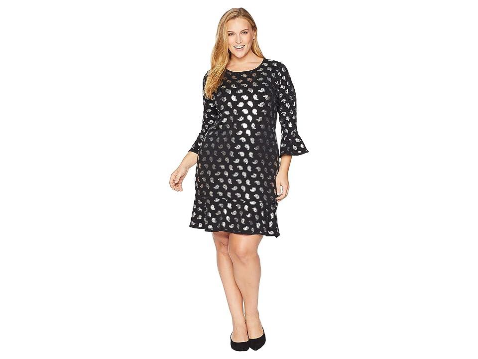 MICHAEL Michael Kors Plus Size Paisley Foil Flounce Dress (Black/Silver Foil) Women