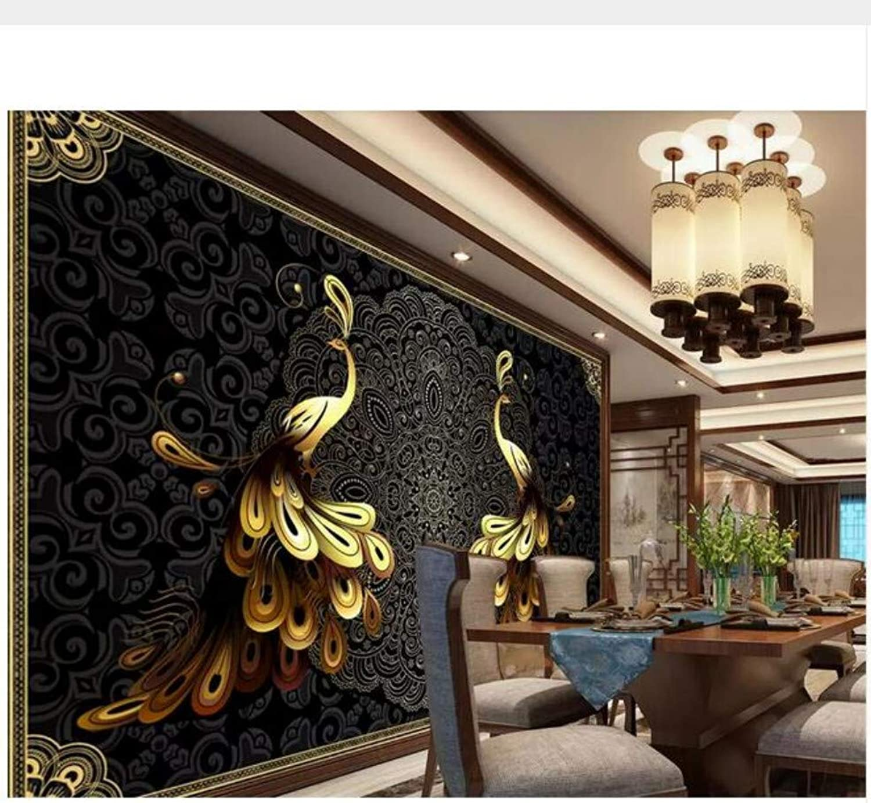 Suuyar Wallpaper 3D Large Mural Wallpaper Luxury European negro oro Peacock Background Wall Living Room 3D Wallpaper,200Cm(W) X 100Cm