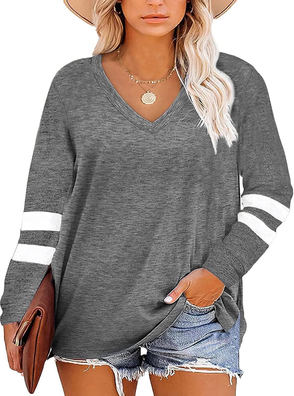 Gloria&Sarah Womens Plus Size Tops V Neck T Shirt Color Block Short Sleeve Summer Casual Tunic Tops