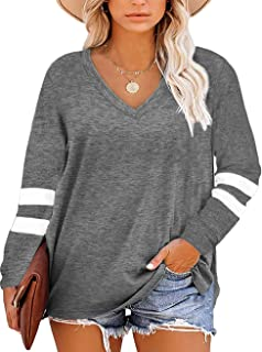 Womens Plus Size Tops V Neck T Shirt Color Block Short...
