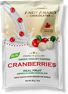 Andy Anand Chocolates Premium California Yogurt Coated Cranberries, All Natural, Made from Natural Ingredients- (Pack of 2 – 3 oz.)
