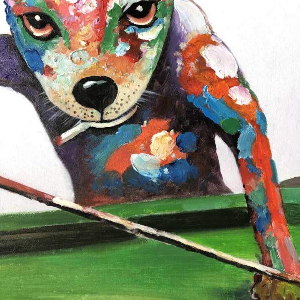 Perro Jugando Billar Pintado a Mano Acrilica Pintura al óleo para ...