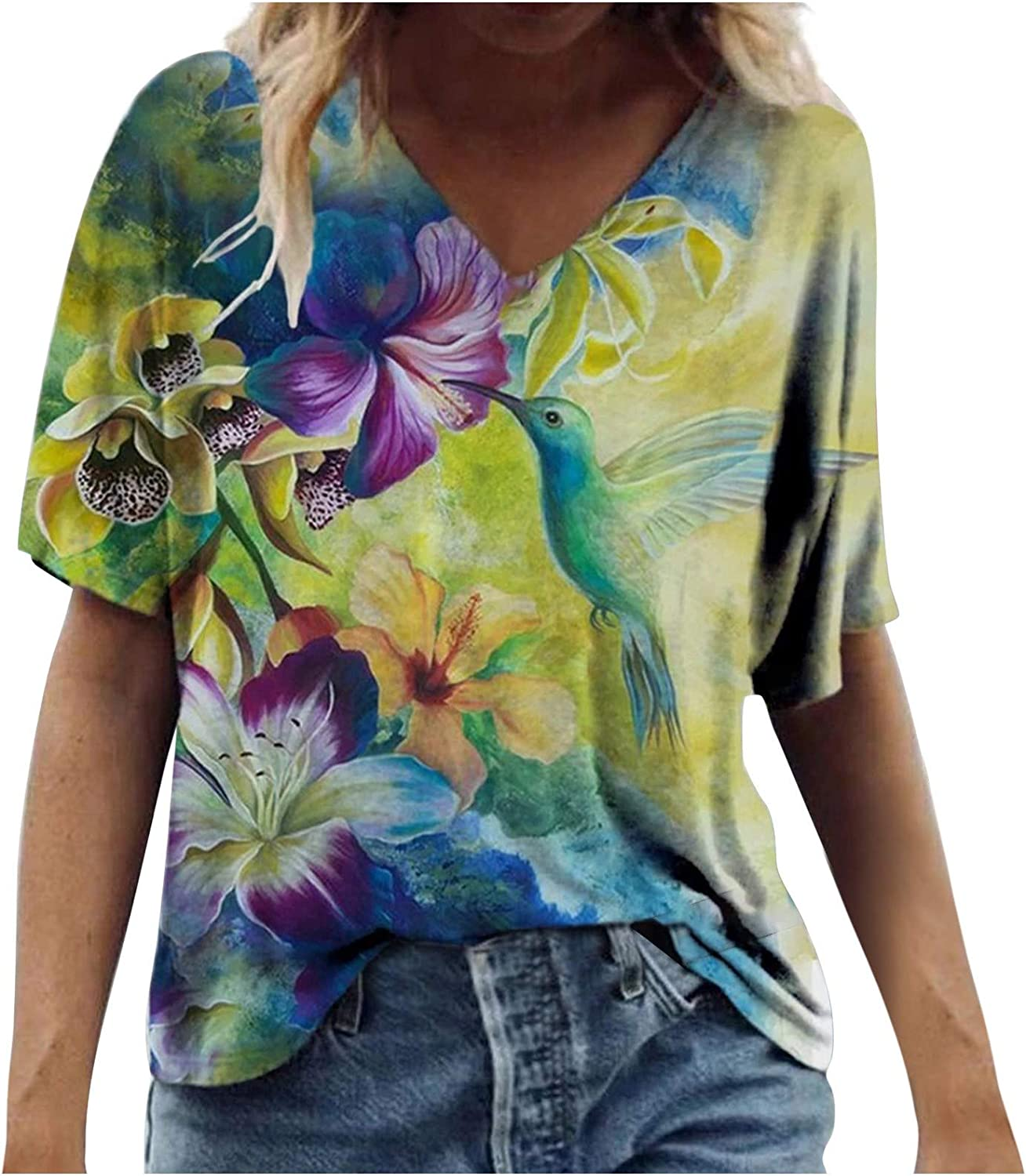 Uppada Women's Summer Short Sleeve Tunic Tops V Neck Colorful Floral Printed Tees Shirt Casual Comfy Blouses Tops