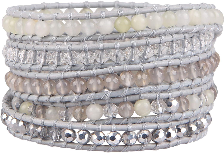 KELITCH Agate Crystal Mxi Beaded on Gray Leather 5 Wrap Bracelet