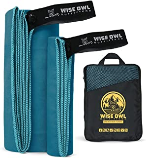 Wise Owl Outfitters Camping Travel Towel - Ultra Soft Compact Quick Dry Microfiber Fast Drying Fitness Beach Hiking Yoga T...