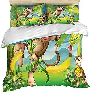 4 Piece Duvet Comforter Cover Set Twin Size, Two Monkeys Near Banana Plant Tropical Landscape Vine Animals Apes, Zippered Quilt Cover Teen Room Decor Bedding Set Include Flat Sheet Pillow Case