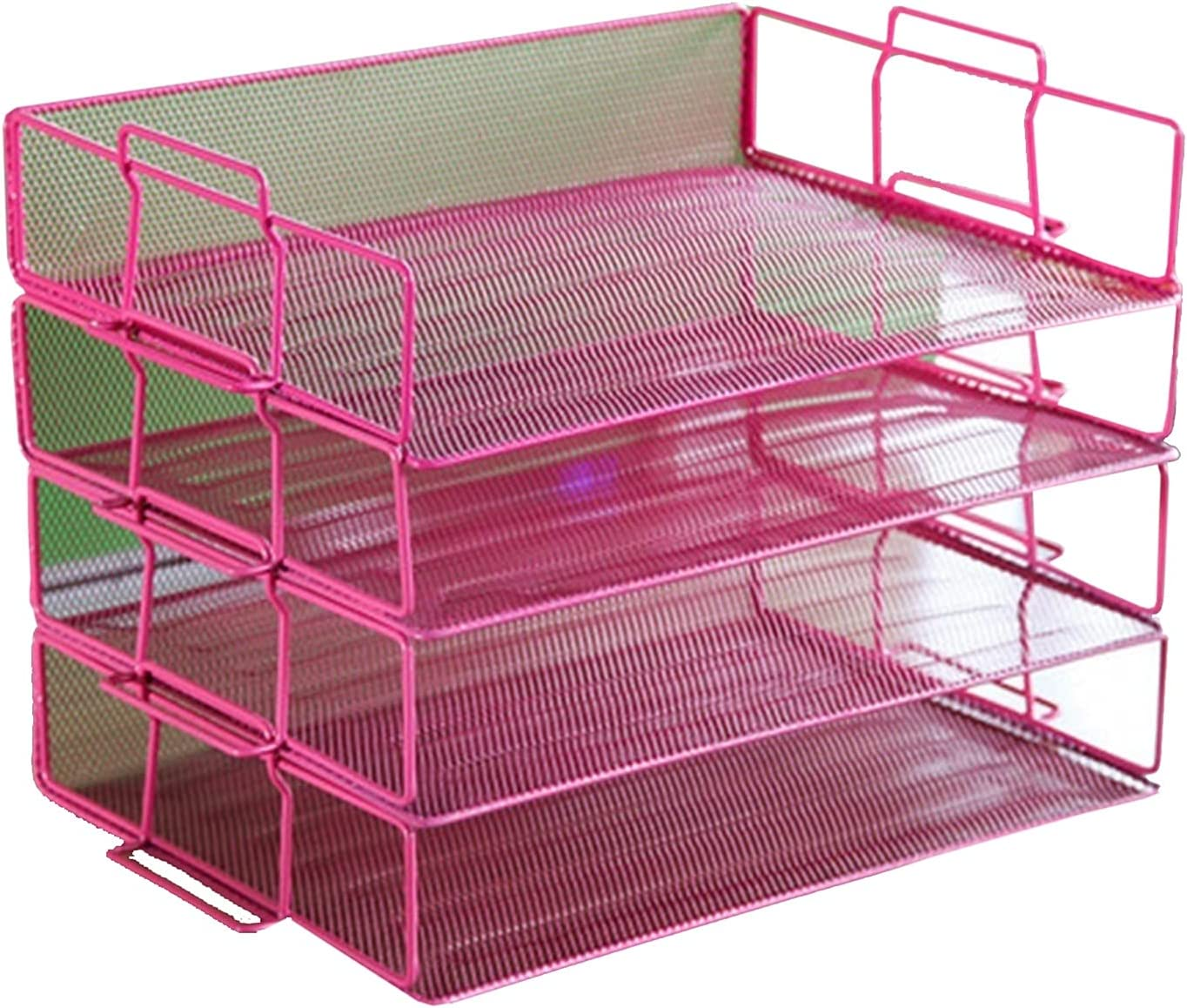 MZQ Letter Trays Stacking 70% Under blast sales OFF Outlet Multifunction Supports Pink T