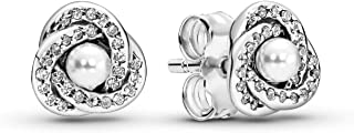 Luminous Love Knots Stud Earrings, Sterling Silver, White Crystal Pearls, Clear Cubic Zirconia, One Size