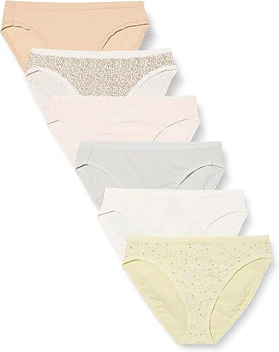 Amazon Essentials Culotte de Bikini en Coton Stretch à Coupe Haute Femme, Lot de 6