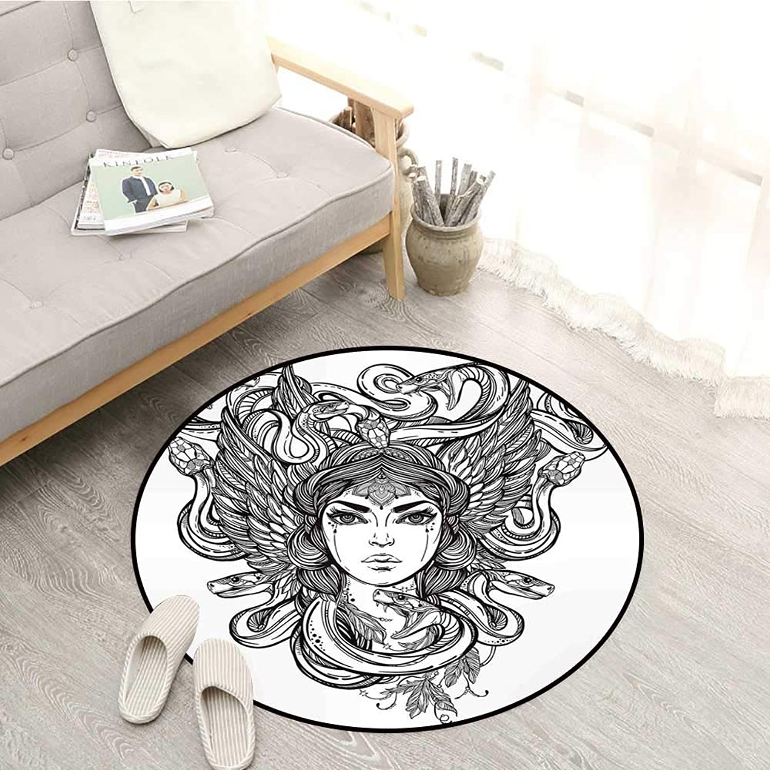 Occult Kids Rugs Sketch of Tribal Spiritual Female Woman Portrait Folk Queen Mythical Medusa Icon Sofa Coffee Table Mat 4'3  Black White