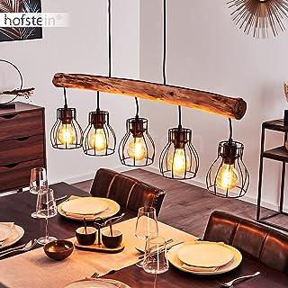 Suspension Gondo en métal noir et bois, lampe pendante à hauteur ajustable pour 5 ampoules E27 max. 40 Watt, compatible am...