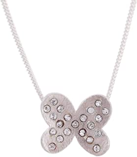 Crystal Beads Cultured Freshwater Pearl .925 Silver Pendant Necklace, Fluttering Wings'