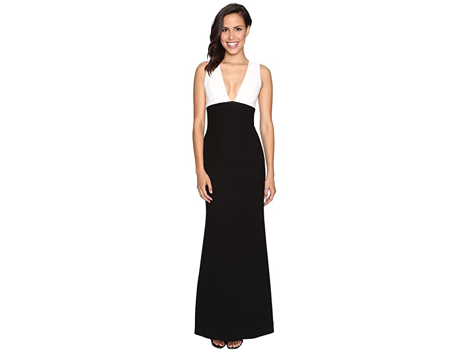 JILL JILL STUART Two-Tone Elastane V-Neck Dress (Off-White/Black) Women