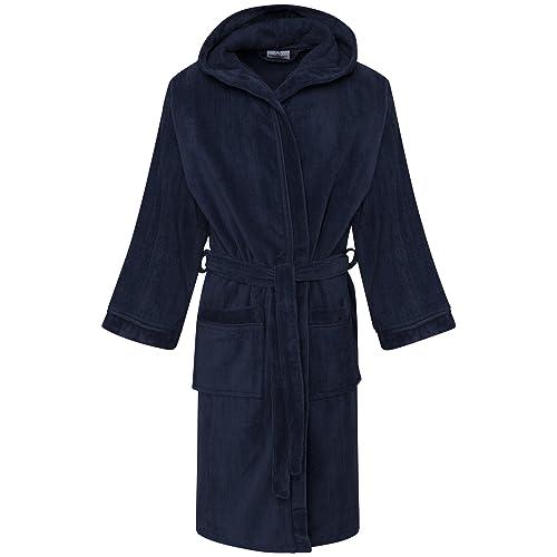 0839d3076b Kids Boys 100% Egyptian Cotton Velour Terry Towelling Bath Robe Hooded