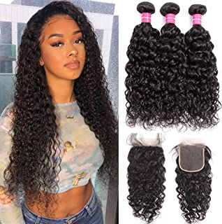 RUIXIAN Brazilian Virgin Water Wave 3 Bundles with Closure 100% Unprocessed Wet and Wavy Water Wave Human Hair Weave Weft Remy Hair Extensions with 4X4 Lace Closure Natural Color (18 20 22 +16inch)