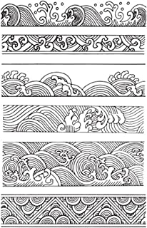 Chinese Japanese Retro Style Ocean Waves Borders Lines Scrapbook DIY Photo Album Cards Rubber Stamp Clear Stamps Transparent Stamp …