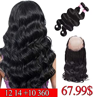 Brazilian Hair 360 Lace Frontal with Bundles Body Wave 12 14 +10 inch 360 Frontal with Bundles Pre Plucked 360 Closure Body Wave Human Hair Natural Black Color