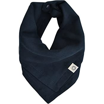 Indi by Kishu Baby Premium Organic Bandana Scarf Bib with Snaps - Luxuriously Soft 100% Cotton Muslin Solid Color Bib - Multiuse (Navy)