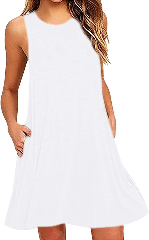 DIACACY Women's Summer Sleeveless Pocket Dress Stretchy Short Sundress Casual Lightweight Dresses