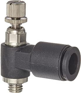 Legris 7660 56 20 Nylon Air Flow Control Valve, 90 Degree Elbow, Meter-Out, External Screw/Knob, 1/4