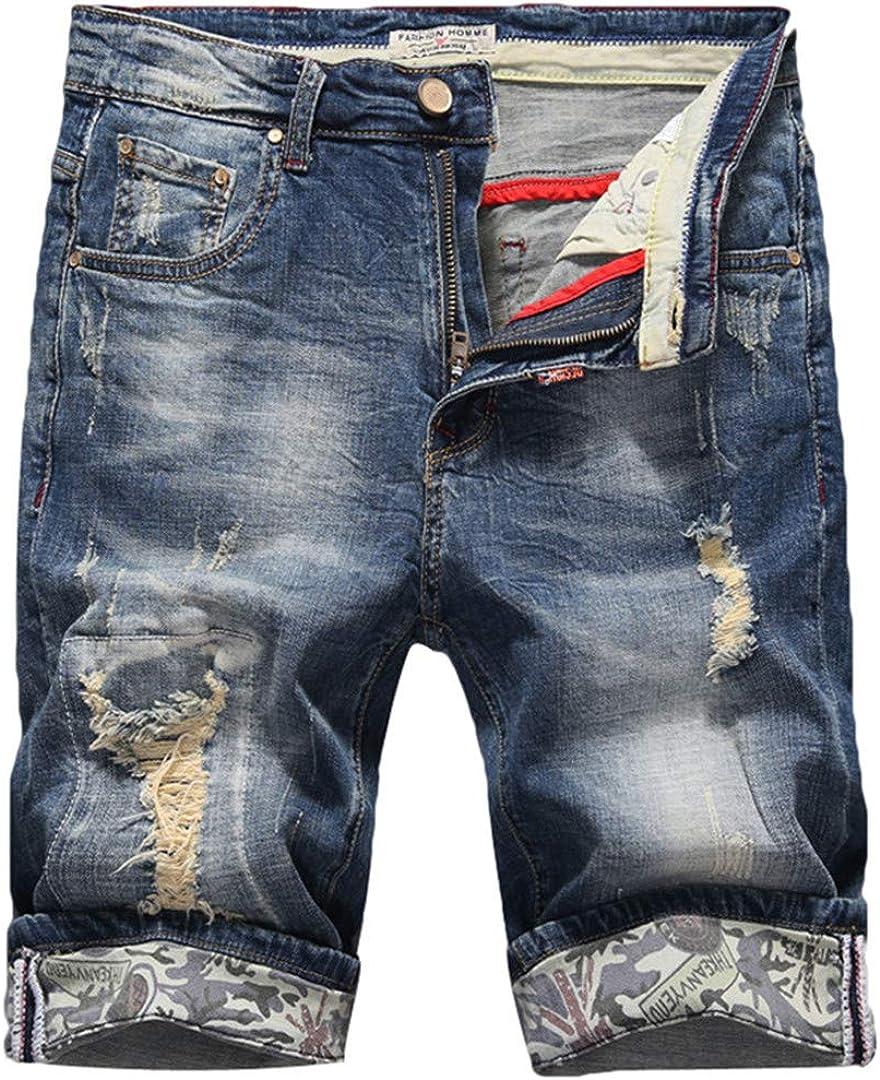 R-Hansets Men's Slim Denim Shorts Elasticity Casual Old Ripped Jeans Short