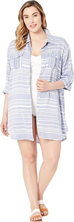 Plus Size Tassel Talk Shirtdress Cover-Up