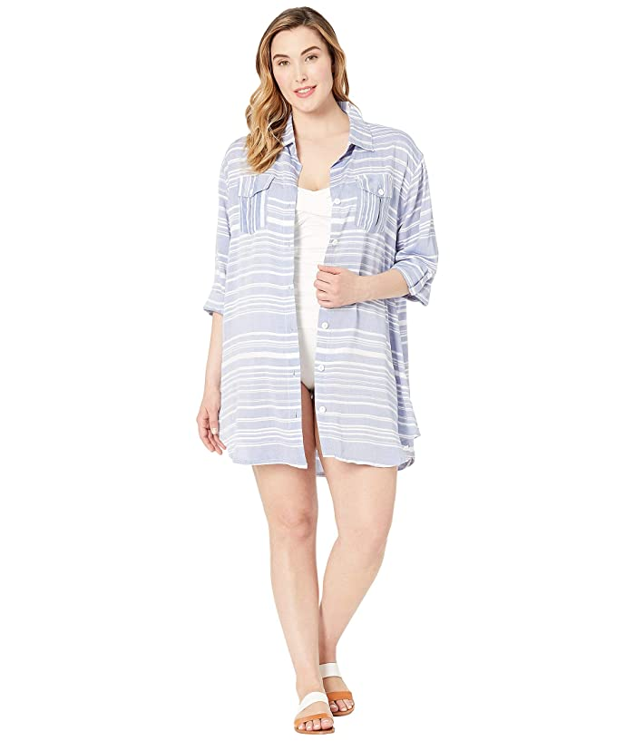 DOTTI Plus Size Tassel Talk Shirtdress Cover-Up (Denim) Women