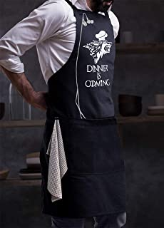 Milano Home GOT Apron Kitchen Chef Bib - Dinner is Coming Professional for BBQ, Baking, Cooking for Men Women / 100% Cotton, Adjustable Neck, Centre Pockets - Navy
