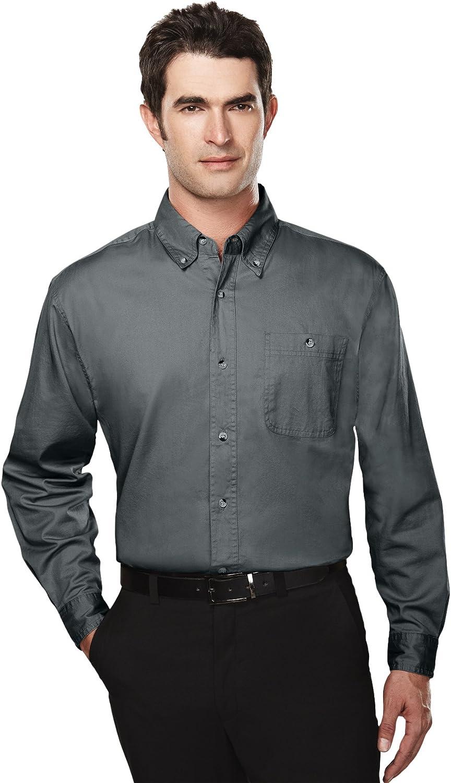 Tri-mountain Mens cotton long sleeve twill shirt. 810TM - CHARCOAL_5XL