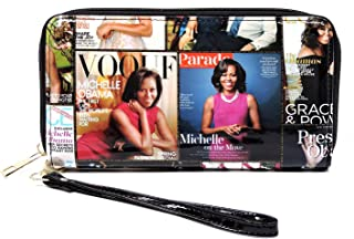 Glossy magazine cover collage Michelle Obama printed zipper full size wallet