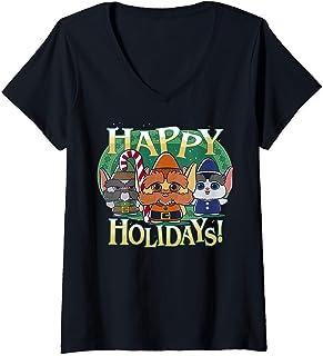 Femme Christmas Chronicles Elves Happy Holidays T-Shirt avec Col en V