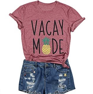 Vacay Mode Shirt Women Cute Pineapple Graphic Tees Tops Short Sleeve Funny Letter Print T Shirt