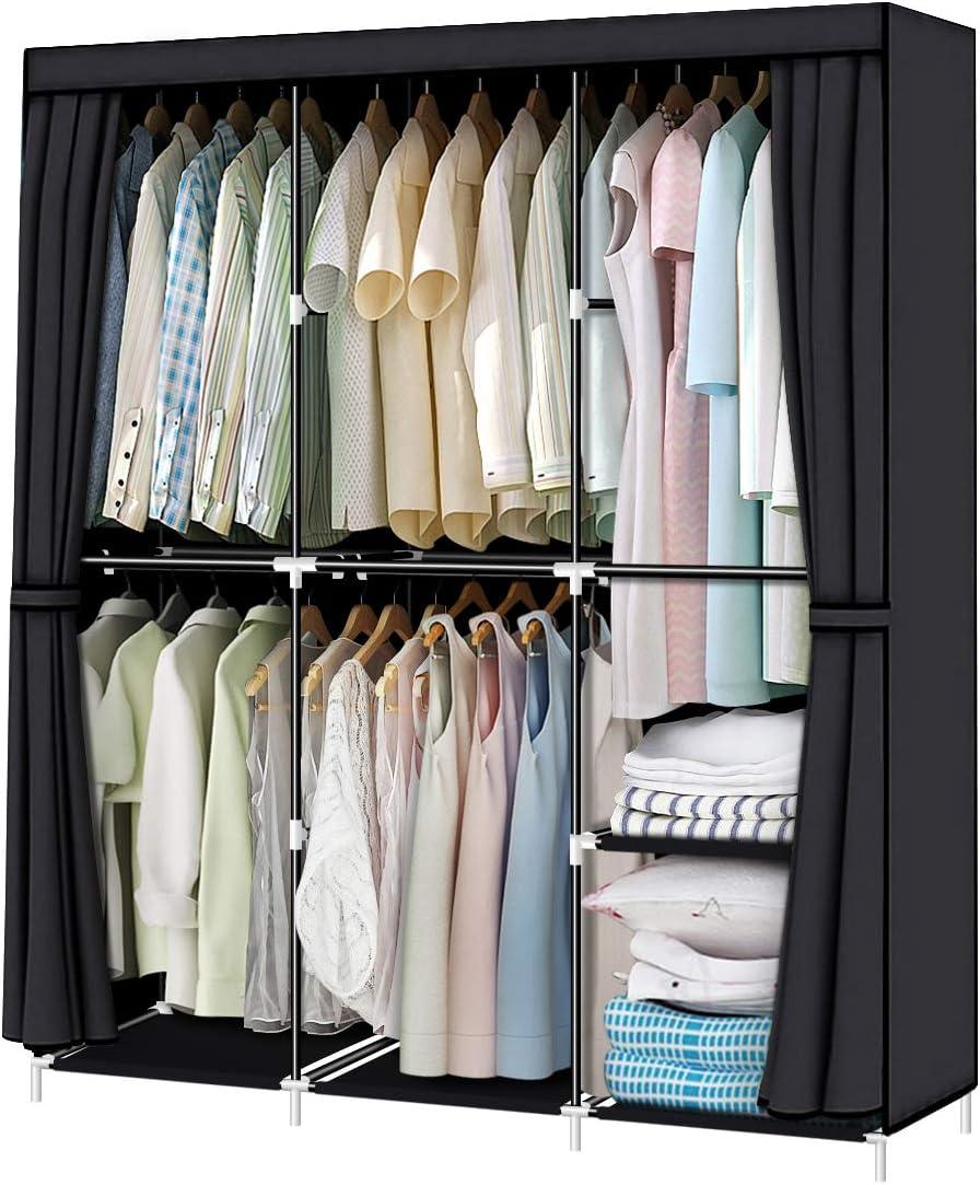 YOUUD Many popular brands security 50 Inch Wardrobe Portable Stroage Organizer w Closet Cloth