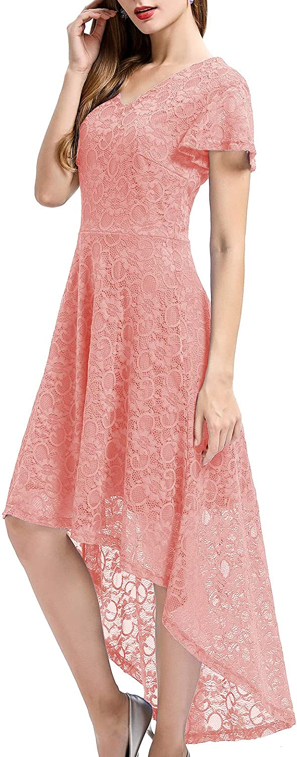Bbonlinedress Women's Vintage Floral Lace High Low Cap Sleeve Formal Cocktail Swing Party Dress