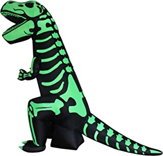 8 Foot Tall Halloween Inflatable Green Skeleton Dinosaur Tyrannosaurus T-Rex Lights Outdoor Indoor Holiday Decorations, Blow Up LED Lighted Yard Decor, Giant Lawn Inflatables for Home Family Party