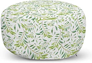 Ambesonne Green Leaf Ottoman Pouf, Watercolor Style Olive Branch Mediterranean Tree Organic, Decorative Soft Foot Rest with Removable Cover Living Room and Bedroom, Avocado Green