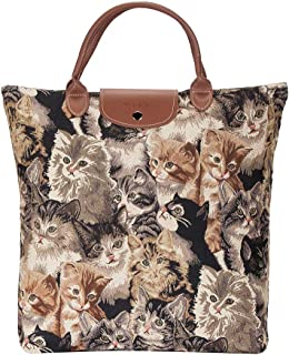 Signare Re-usable Tapestry Foldaway Shopping Bag in 8 Animal Designs (Cat)