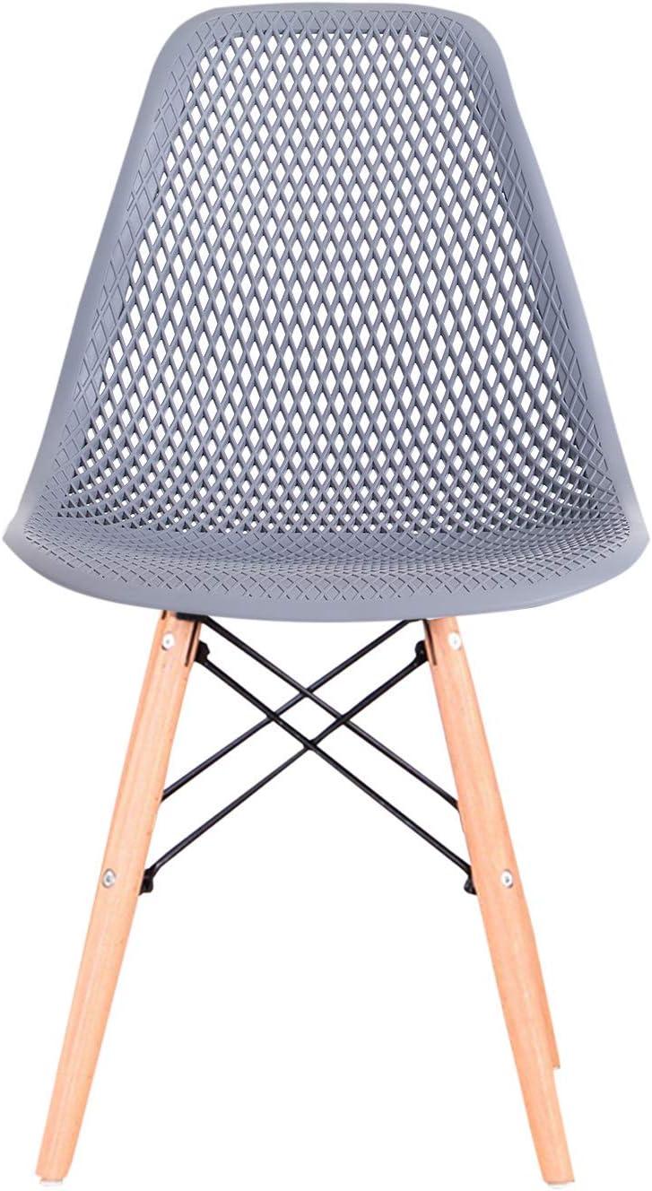 GroBKau Lot de 4 chaises de salle à manger contemporaines en plastique ajouré pour salle à manger, cuisine, bureau, restaurant, etc. (Noir) Gris