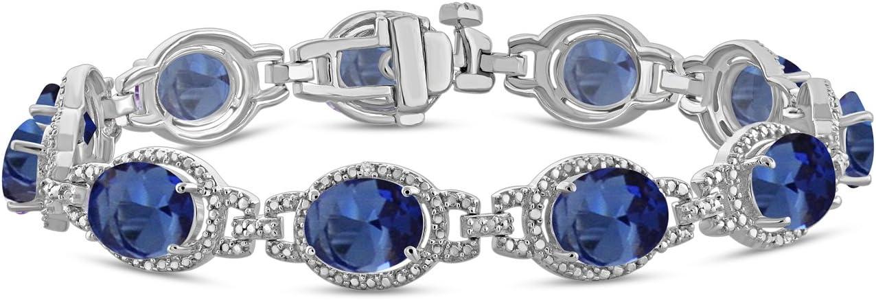 "Jewelexcess 12.80 CTW Created Sapphire Gemstone & 1/20 CTW White Diamond Bracelet in Sterling Silver, 7.50"""