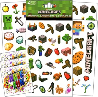 Minecraft Stickers for Kids - 4 Sheets of Stickers Bundle Includes 3 Specialty Separately Licensed GWW Reward Stickers
