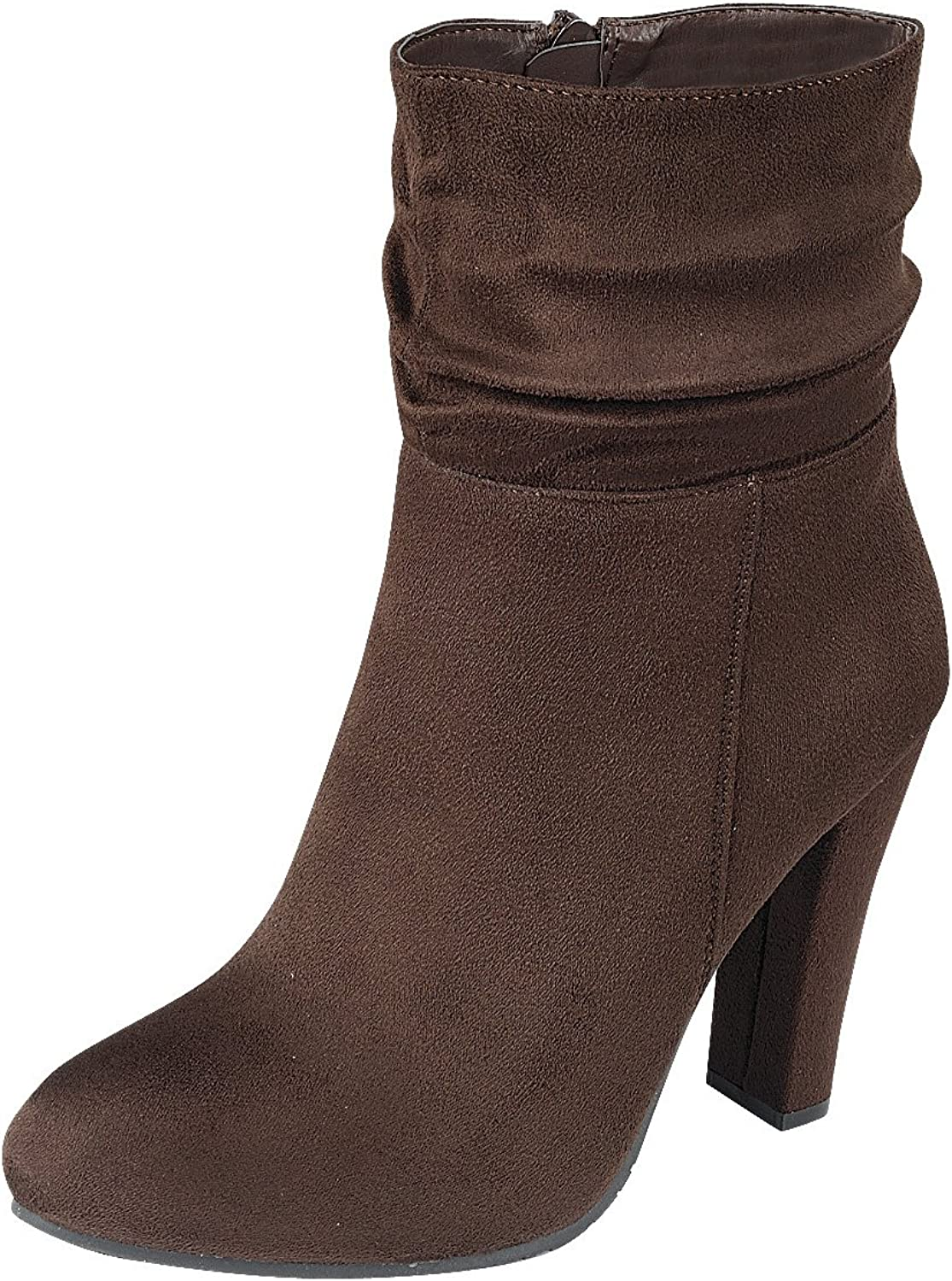 Cambridge Select Women's Slouch Round Toe Chunky Wrapped Heel Ankle Bootie