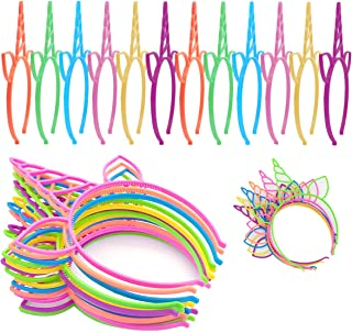 VanStar 24 Pieces Plastic Unicorn Headbands Fancy Dress Cosplay Girls Party Decoration Headdress Birthday Party Favors Unicorn Photo Props Decoration Supplies for Party