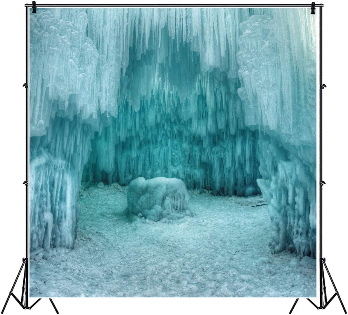 6x4FT Glacier Backdrop Ice Cave Icicle Snow Photography Background Birthday Party Decoration Newborn Kids Baby Adults Baby Shower Vinyl Photo Booth Props