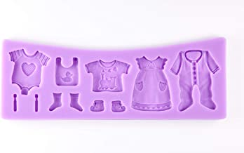 Tasty Molds 3D Baby Clothes Silicone Fondant Mold High Definition Quality Baby Shower Cake Topper DIY Cupcake Decoration Birthday Party Tool for Sugarcraft, Chocolate, Resin, Candy, Crafting Projects