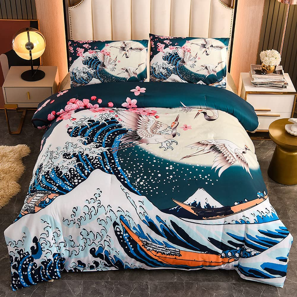 Max 44% OFF Btargot Japanese Style Comforter OFFicial site Set Cherry Blossoms Twin Size C